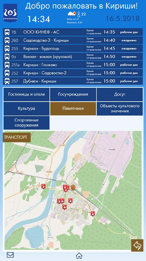 Инфосистема Кириши: вывод объектов по категориям