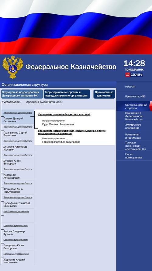 Раздел Структура учреждения на сенсорном терминале Росказны