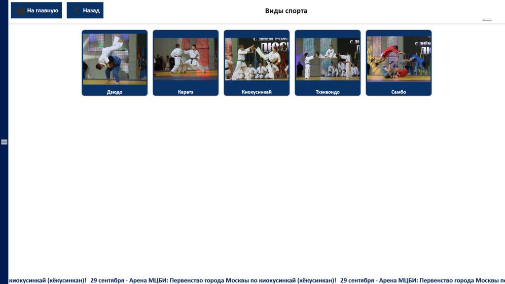 Экран выбора вида спорта