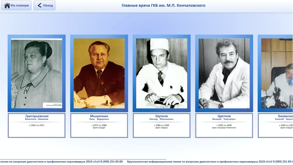 Портретная галерея - главные врачи ГКБ им. М. П. Кончаловского