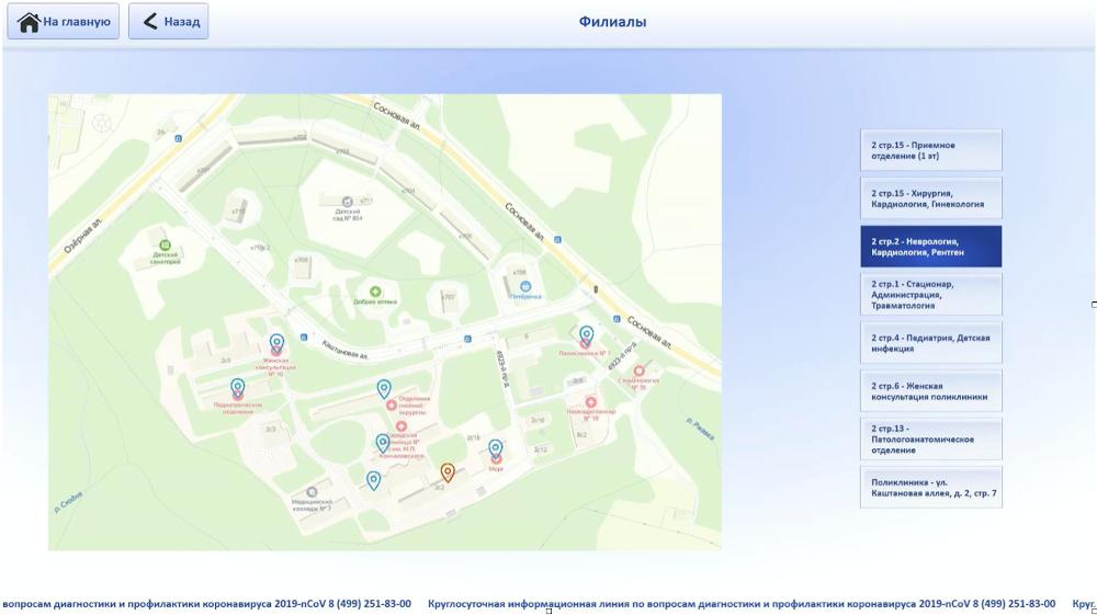 Филиалы больницы - модуль Карты