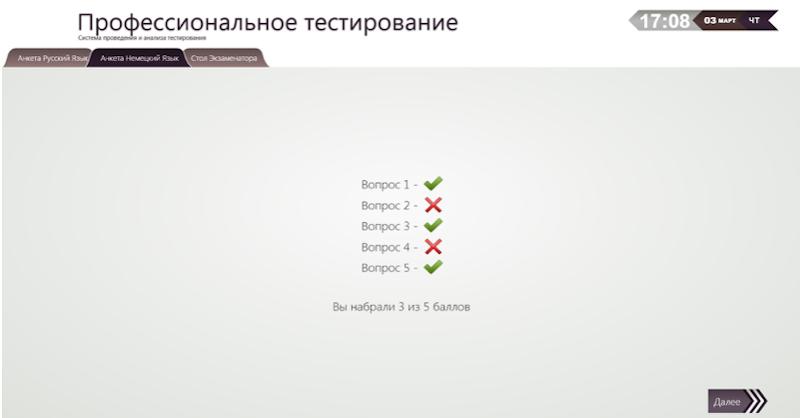 Экран оценки ответов для просмотра тестируемым