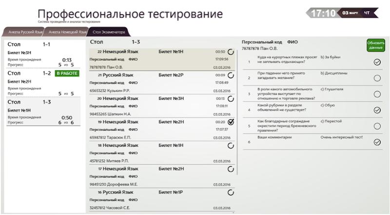 Рабочее место экзаменатора - данные по просмотрам ответов одной сессии